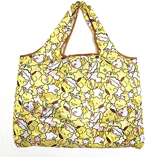 CJB Foldable Cute Pompom Purin Shopping Bag Yellow (US Seller)
