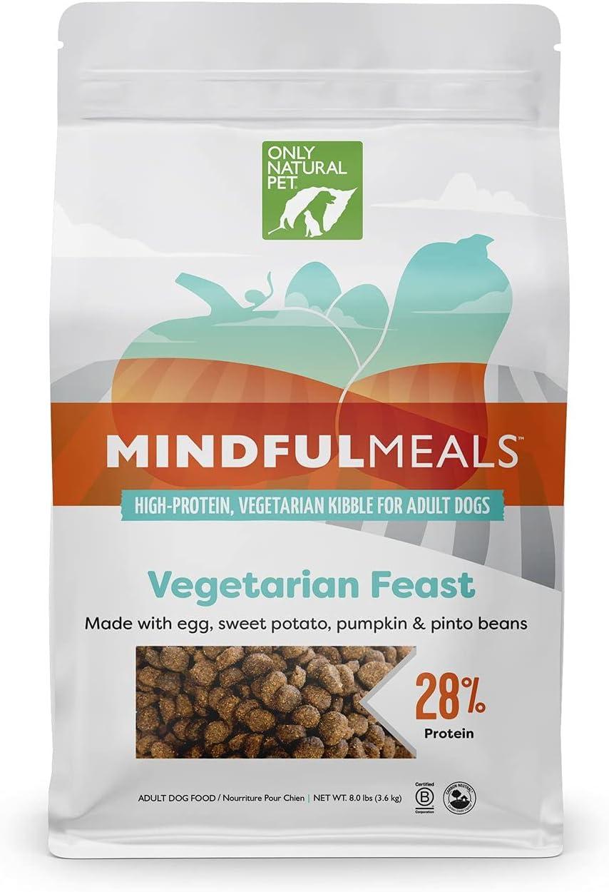 Only Natural Pet MindfulMeals Vegetarian Feast Dog Food - Vegetarian Friendly Egg & Plant-Based Protein, Sustainable Limited Ingredients Dry Dog Food Kibble, 8 Lb Bag