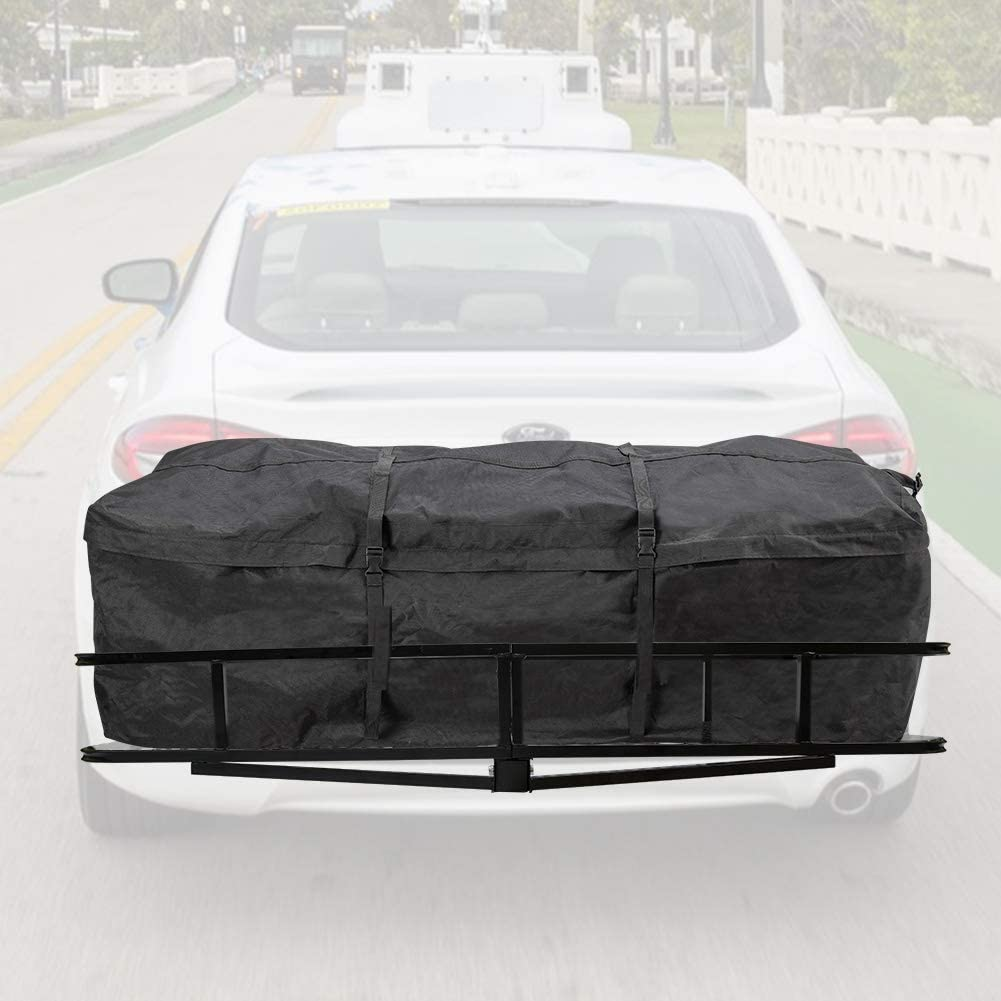 10 Cubic Feet Waterproof Hitch Tray Cargo Carrier Bag for Vehicle Car Truck SUV Vans FieryRed Trailer Hitch Cargo Carrier Bag - 1 Year Warranty Luggage Storage Bag for Hitch Racks