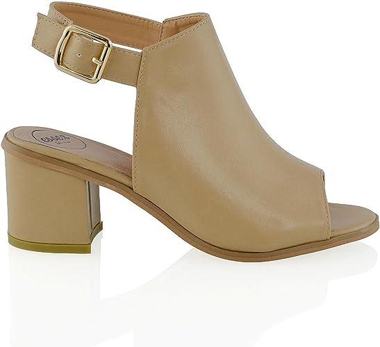 Womens Low Heel Peep Toe Buckle Mule Ladies Open Back Strap Ankle Shoe Boots