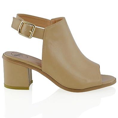 3ec443c98827 Womens Low Heel Peep Toe Buckle Mule Ladies Open Back Strap Ankle Shoe Boots