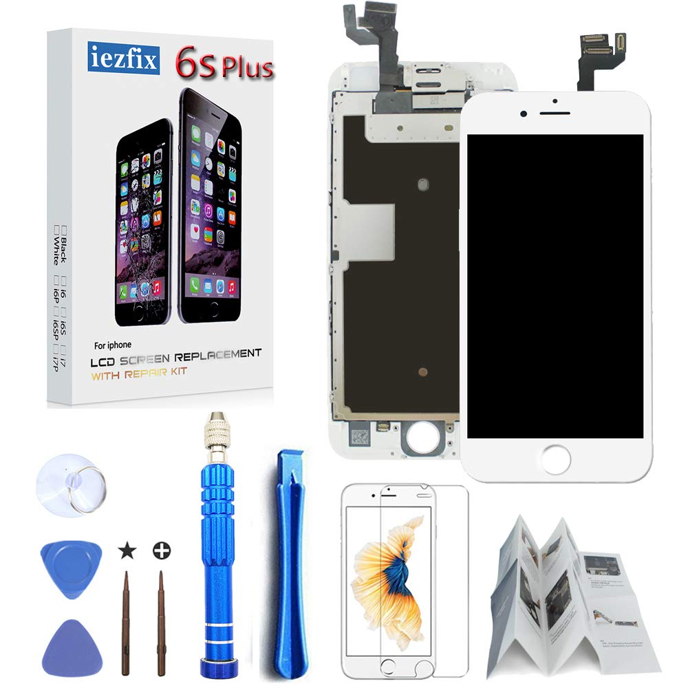for iPhone 6S Plus Screen Replacement White (A1687 A1634) LCD Screen Digitizer, Display Assembly with Front Camera, Earpiece Speaker + Free Repair Tools, Glass Screen Protector (6S Plus White) by iezfix