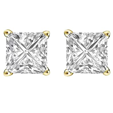 5232d0304 Image Unavailable. Image not available for. Color: 14K Yellow Gold Plated  Cz Ear Studs Princess Shape Cubic Zirconia ...