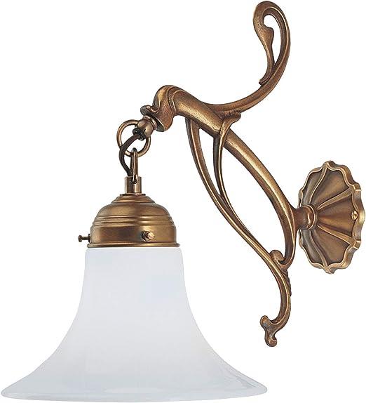 Murale éclairage en laiton verre blanc Lampe murale Style Art Déco Classique bougeoir antique