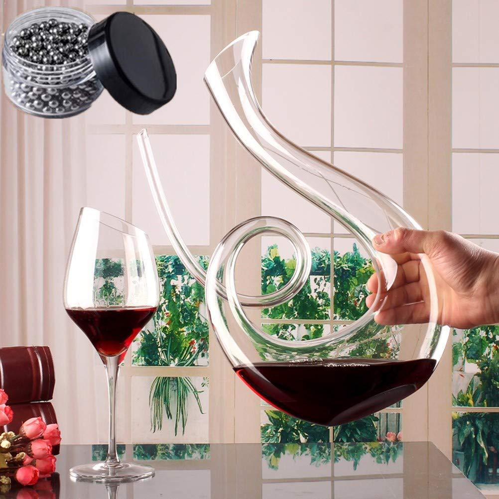 Sucastle Handmade Crystal Red Wine Pourer Glass Decanter Brandy Decant Set Jug for The Bar Champagne Water Bottle Drinking Glasses Gift