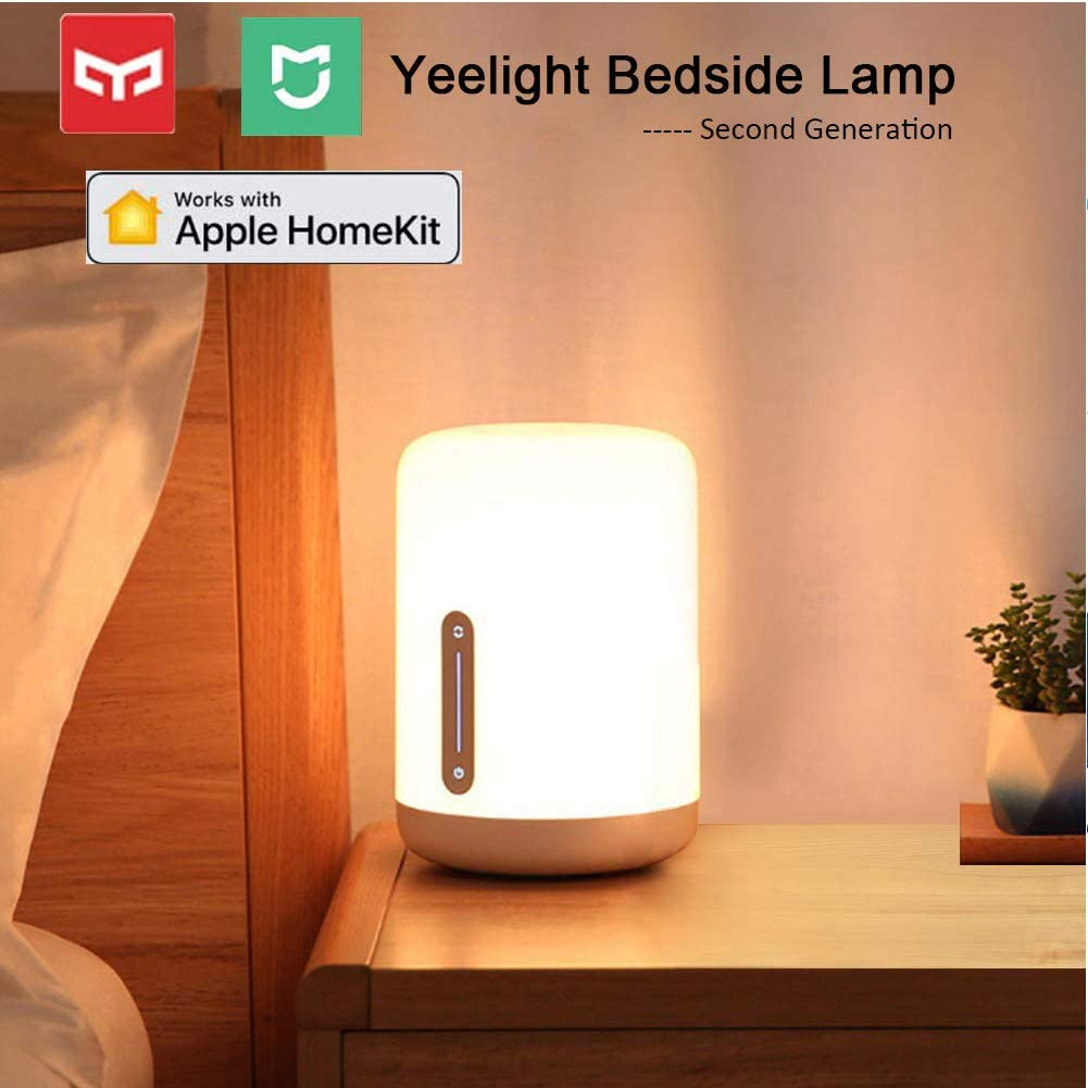 Yeelight Lamparas de Mesa Regulable, Mijia Versión 2 1700K-6500K USB Regulable 16 Million Color LED Bedside Lamp Lámpara de Cabecera Niños,Wifi/Bluetooth/Táctil Control Alexa Google Home Homekit