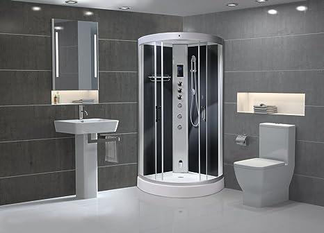 Aqualusso carbonio nero alto 900 mm quadrante vapore box doccia