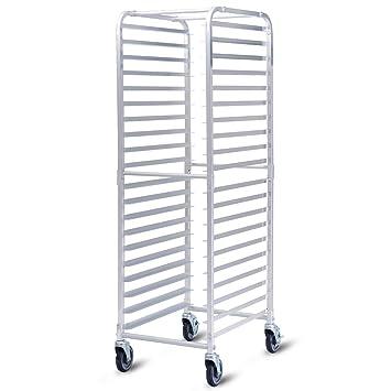CHEFJOY - Estante abierto de aluminio con ruedas para 20 pistola de cocina, 2 estantes con cerradura para uso comercial en el hogar: Amazon.es: Hogar