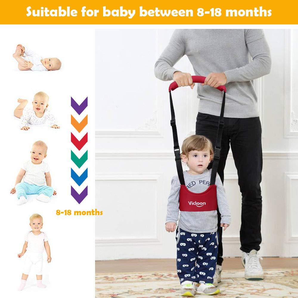 Vicloon Hand-held Baby Walker Toddler Walking Assistant Helper Kid Safe Walking Protective Belt Child Harnesses Learning Assistant Belt Red
