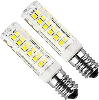 E14 Bombilla LED de 5 vatios Equivalente 50W Cool White 6000K Campana extractora 450Lumens AC220-240V No regulable Small Edison Screw 75PCS 2835SMD (Paquete de 2): Amazon.es: Iluminación