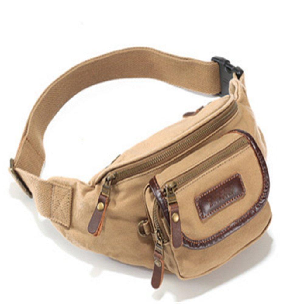 Sviper Travel Fanny Khaki Bag Waist Pack Sling Pocket Super Lightweight for Travel Cashier's Box,Canvas Travel Neck Pouch
