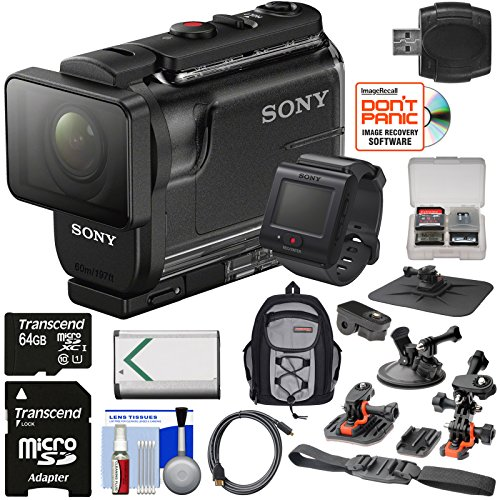 Sony Action Cam HDR-AS50R Wi-Fi HD Video Camera Camcorder & Live View Remote with 64GB Card + Battery + Backpack + Helmet, Suction Cup & Dashboard Mounts + Kit by Sony