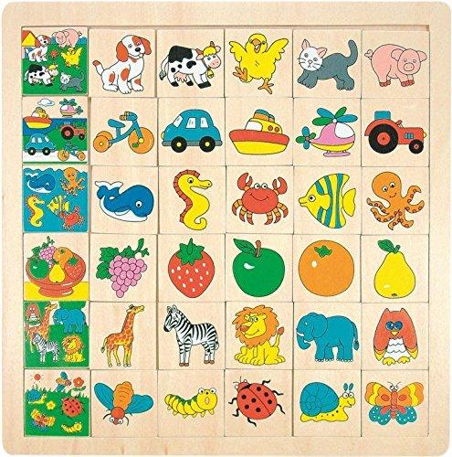 Legespiel / Lernspiel - LOTTO PUZZLE - TIERE aus Holz - Bilder Holzspielzeug - Holzspiel - Lottospiel Lernspiel Erinnerung - Legespiele - für Kinder