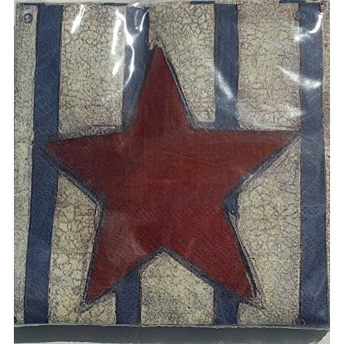 Heritage Red Whit Blue Star And Strips Designer Napkins - 30 Count H&PC-80115