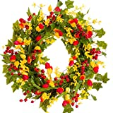 Darby Creek Trading Red & Yellow Spring and Summer Wreath with Berries (SW030) - Spring Wreath - Summer Wreath - Everyday Wreath