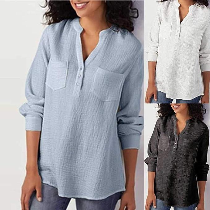 Camisa de algodón con Cuello en V para Mujer Camiseta de Manga Larga y Talla Grande Blusa Profesional cómodo: Amazon.es: Ropa y accesorios
