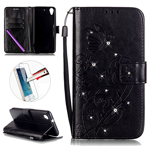 HTC Desire 626 / 626S Case, ISADENSER Butterfly Embossed PU Leather Case Bling Glitter Flip Wallet Stand Case Card Slots HTC Desire 626 + 1pcs Screen Protector Diamonds Black