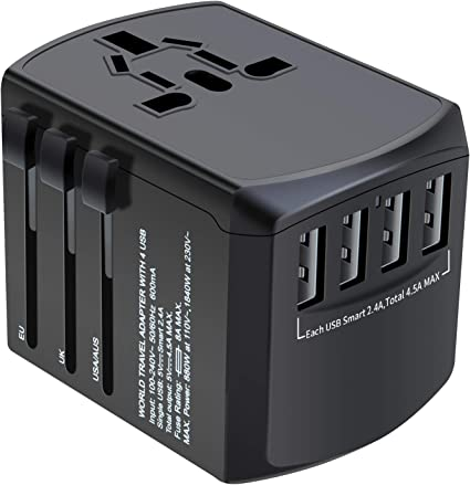 Universal Travel Adapter Worldwide All in One Adapter Converter with 4 USB Ports