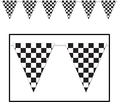 Black//White 23/'/' x 12/' 23 x 12 Beistle S57703AZ2 2 Piece Checkered Giant Pennant Banners Black//White