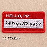 Patches Beautiful Finger Punk Iron On Patch Clothes Patch for Clothing Women Embroidered Patch Clothes Stickers - (Color: Hello i am.)