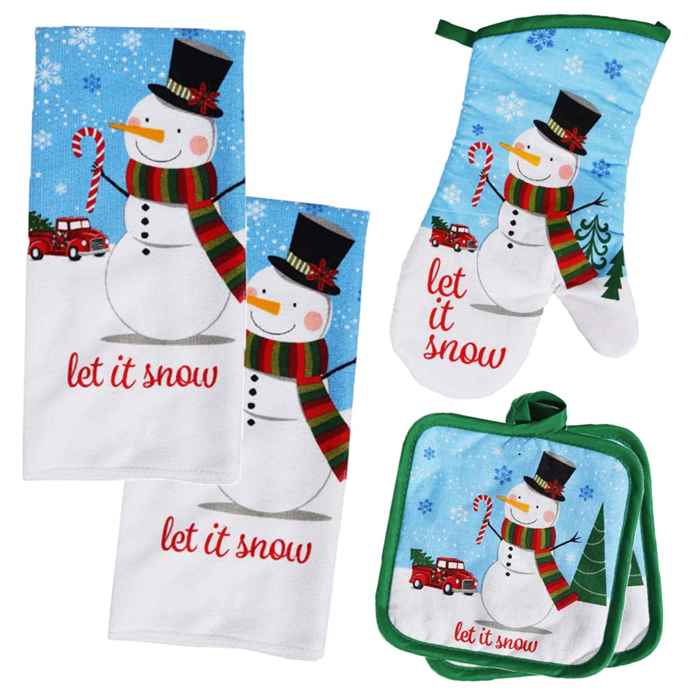 Holiday Kitchen Snowman Christmas Towel Set with 2 Quilted Pot Holders, 2 Microfiber Dish Towels and 1 Oven Mitt