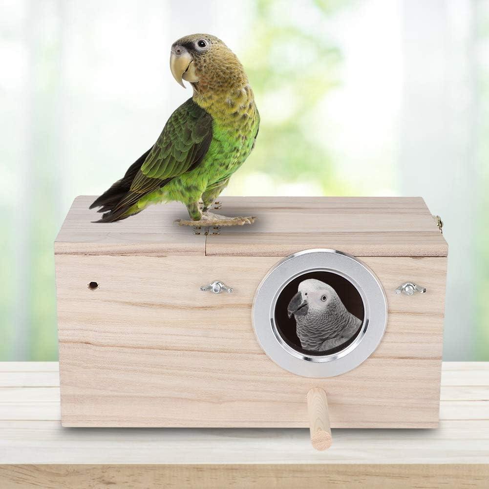 Boquite Casa de pájaros, Caja de cría de pájaros, Caja de Nido de pájaros Duradera de Madera Cacatúas Caja de cría de pájaros Decoración de la casa