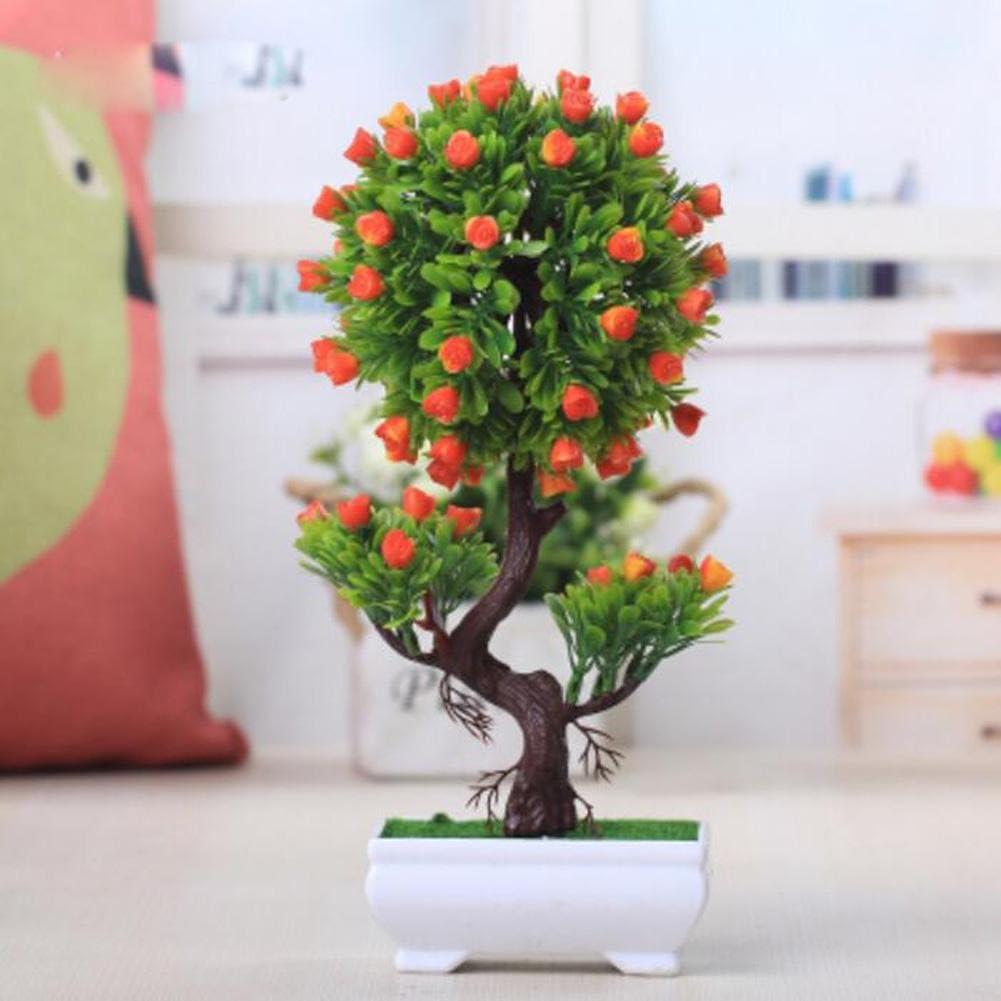 jianbo1232018Simulación Artificial Planta Flor árbol Verde Algodón Olla (Mucho Color) Salón Mesa plástico Flores. Lucky Feng Shui Decoración (Multi de Color), E