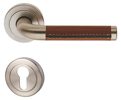 South Texas U2013 R Metal 32854710 Door Rosettes Stainless/Satin Leather Brown  For Front Door