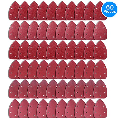 AUSTOR 60 Pieces Mouse Detail Sander Sandpaper Sanding Paper Hook and Loop Assorted 40/60/ 80/120/ 180/240 Grits