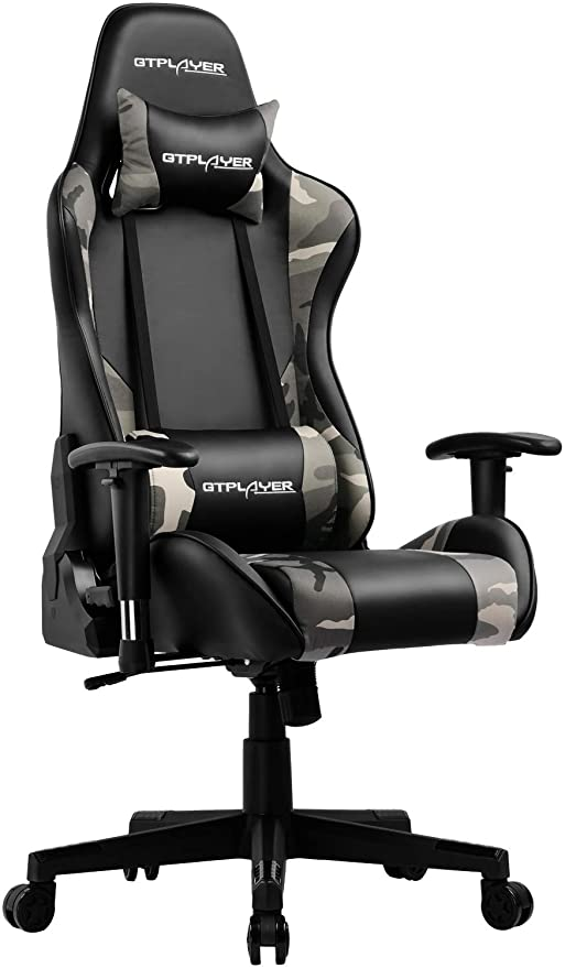 GTPLAYER Camouflage Gaming Chair Computer Office Desk Chair Racing Style PU Leather High Back Ergonomic Swivel Chair