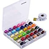 Paxcoo 36 Pcs Bobbins and Sewing Threads with Case and Soft Measuring Tape for Brother Singer Babylock Janome Kenmore…