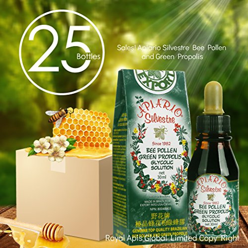 Official Distributor - 25 Bottles of Apiario Silvestre Bee Pollen Green Propolis by APIARIO SILVESTRE