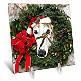 3dRose Sandy Mertens Christmas Animals - Christmas Wreath with a Greyhound Dog with Santa Hat in the Middle - 6x6 Desk Clock (dc_269520_1)
