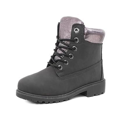 641f35b3f8b3e2 Damen Metallic Worker Boots Schnür Stiefel Stiefeletten in ...