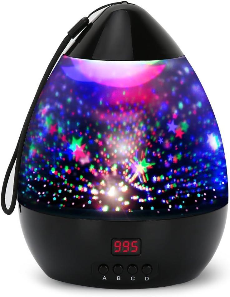 Lámpara Infantiles Proyector Estrella+Proyector LED+Timer Aut-Apagado+8 Modos Color+360 Grado Rotación+USB/Pilas Energizado,Luz de Cabecera Niños O Adulto,Regalo para Halloween Acción Gracias Navidad