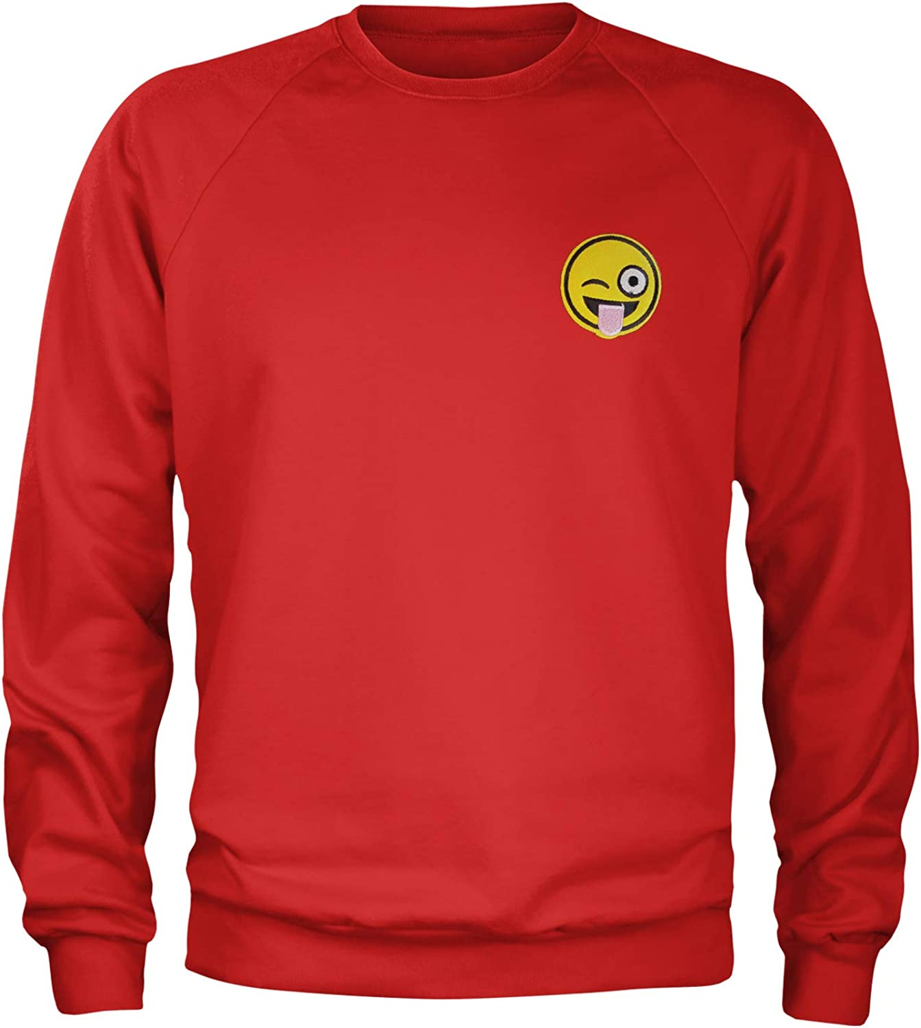 Expression Tees Embroidered Tongue Hanging Out Emoticon Patch Pocket Print Crewneck Sweatshirt