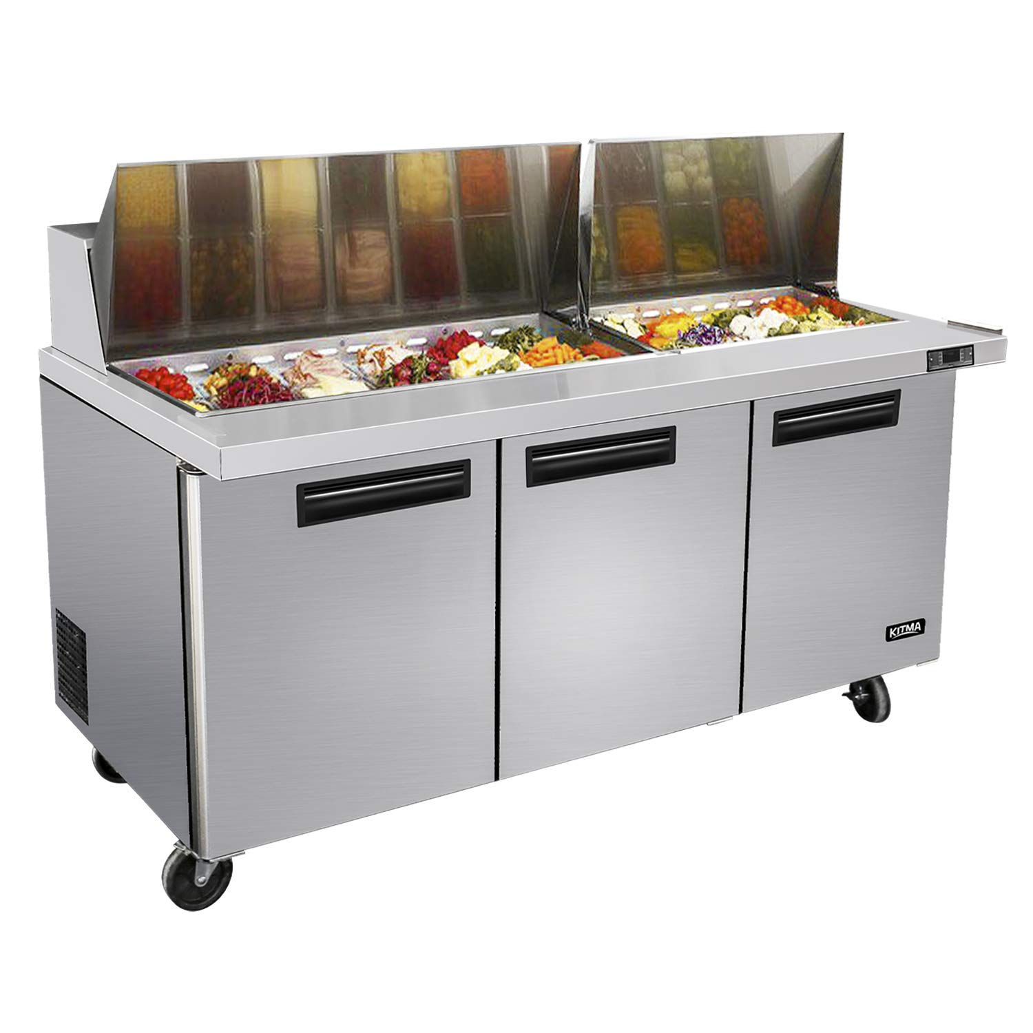 72 Inches 3 Door Mega Top Sandwich Prep Table Refrigerator - KITMA 22.6 Cu.Ft Refrigerated Salad Prep Station Table with Cutting Board and Pans, 33 °F - 38°F by KITMA