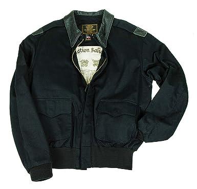 a67bb6f66f0 100 Mission A-2 Flight Jacket - Black Large at Amazon Men s Clothing ...