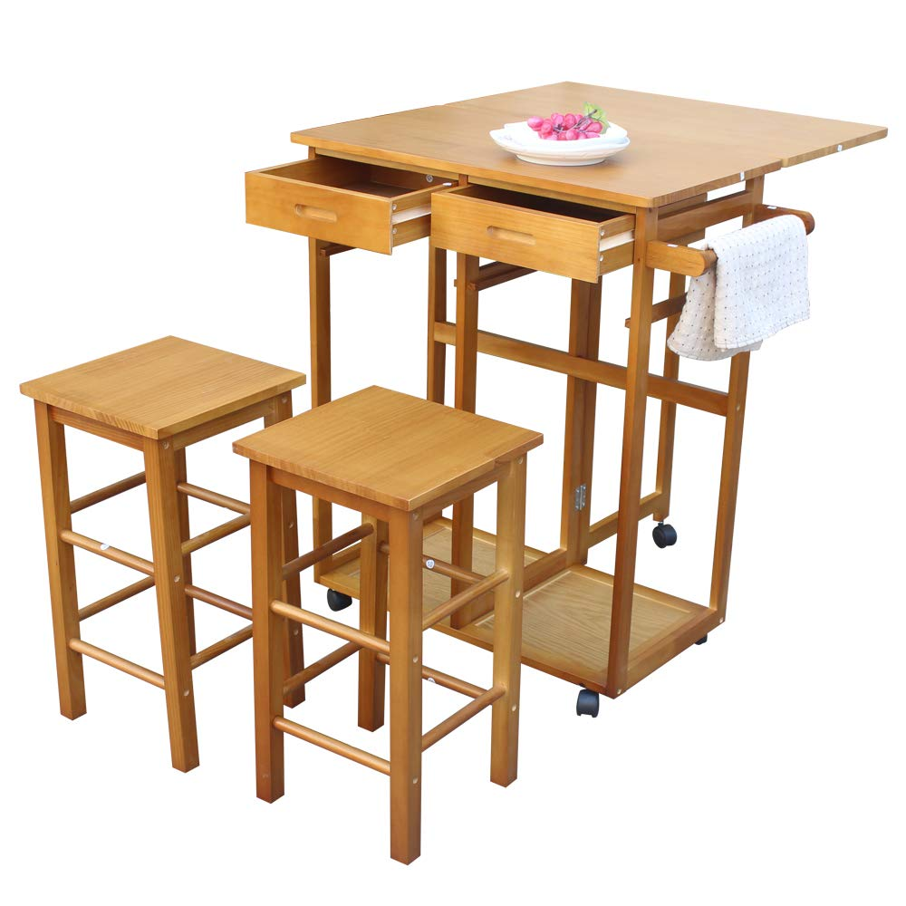 Wegi King Portable Dining Table Set,Wooden Rolling Kitchen Storage Cabinet Island Trolley Breakfast Cart Stand with 2 Bar Stools Counter Top Table Microwave Cart Rack Brown