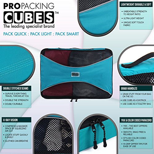 PRO Packing Cubes  Lightweight Travel - Packing for Carry-on Luggage, Suitcase and Backpacking Accessories Set, Mixed Colors - 4 Piece by Pro Packing Cubes (Image #5)