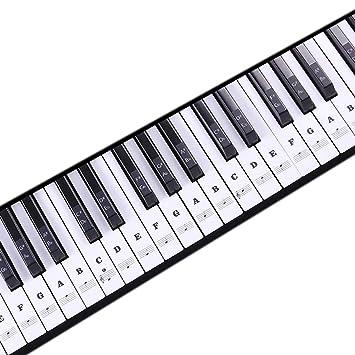 1Buy Teclado de música Transparente Pegatinas para Piano 88/61/54/49 Niza Llave extraíble Laminado Negro: Amazon.es: Hogar