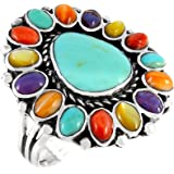 Turquoise Ring Sterling Silver 925 Genuine Gemstones Southwest Style