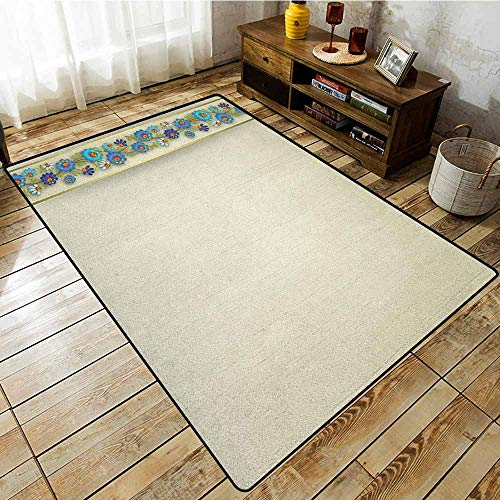 (Indoor/Outdoor Rug,Off White,Grunge Background and Vertical Border Detail with Blue Spring Blossoms,Extra Large Rug Eggshell Multicolor )