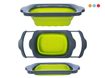 High Quality Colander Collapsible   Green U0026 Grey   Over The Sink Colander With Handles    Folding Strainer