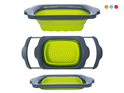 Colander Collapsible   Green U0026 Grey   Over The Sink Colander With Handles    Folding Strainer