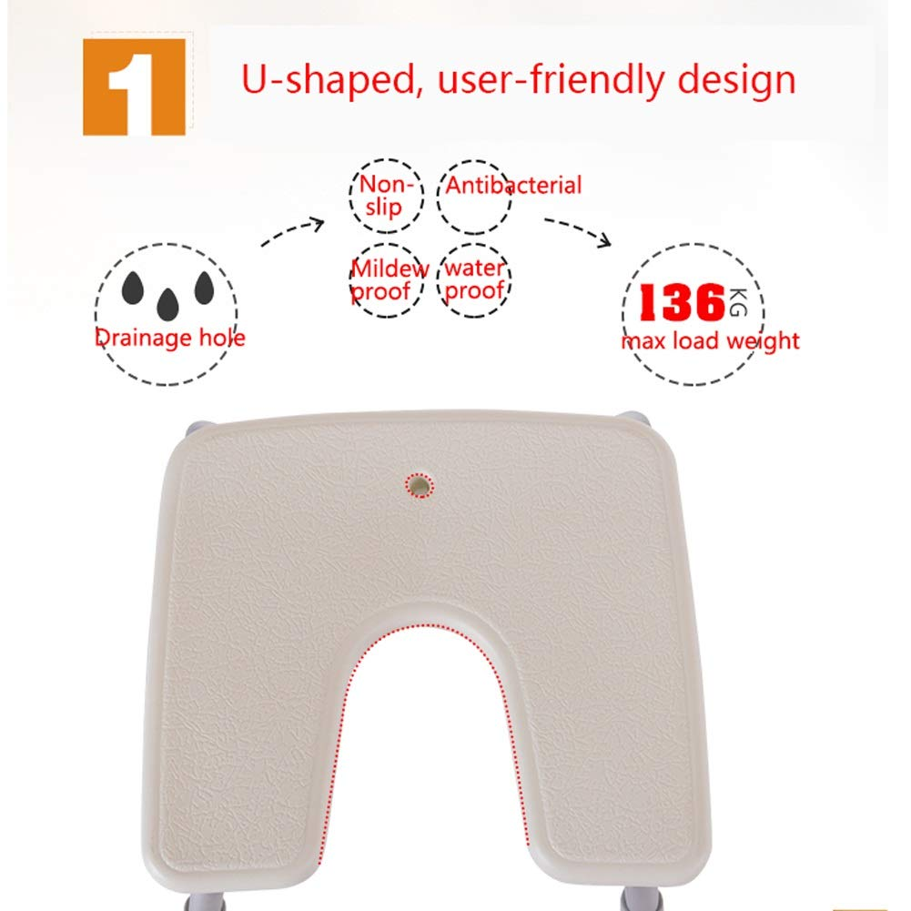 BEAUTY--shower stool Anti-Slip Shower Chair for The Elderly/Pregnant Women/Disabled,Bath Assist Seat with Backrest,Adjustable Height by BEAUTY--shower stool (Image #4)