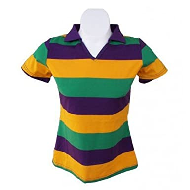 88717bde5c2 Mardi Gras Ladies V-Neck Short Sleeve Polo (Slim Fit) (2XL). Roll over  image to zoom in. Poree's Embroidery