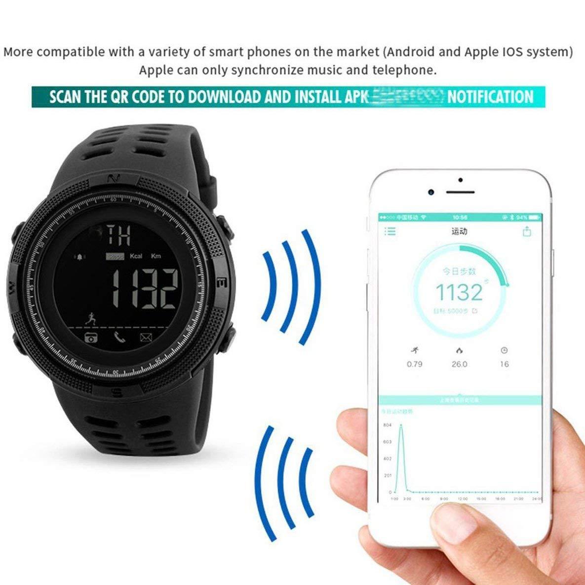 Noradtjcca Les Montres intelligentes de Digital de Montres de Sport de Montre dhommes de Montre imperm/éables /à leau sans Bluetooth