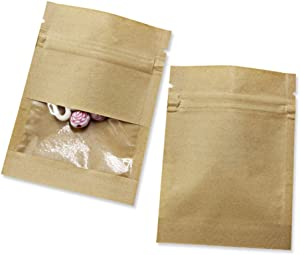 100 Pack Clear Window Kraft Paper for Zip Bag Reclosable Lock Seal Food Storage Bags Zipper Lock Resealable Heat Seal Pouch Smell Proof Sample Coffee Packet (2.7x3.5 inch (Inner Size 2.36x2.36inch))