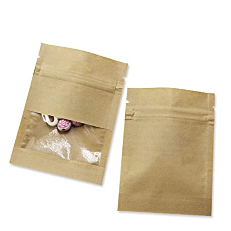 Clear Window Kraft Paper Ziplock Food Storage Bag Resealable Heat Sealable Grease Proofing Pouches Smell Proof Sample Stuff Tea Coffee Packet (100, ...